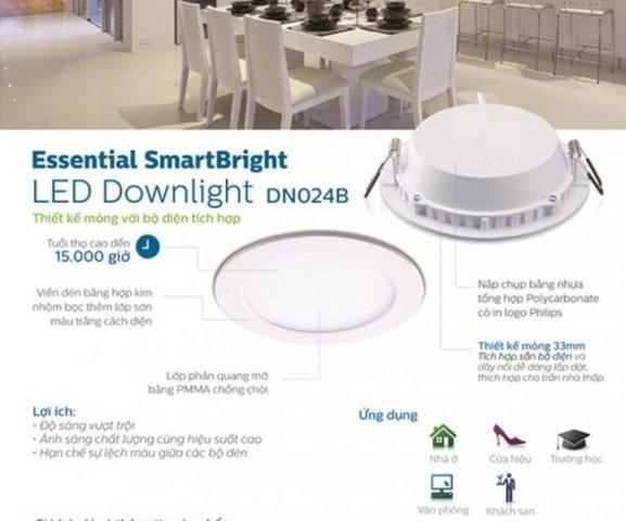 Đèn led âm trần vuông 11W DN024B D105 SQR Philips