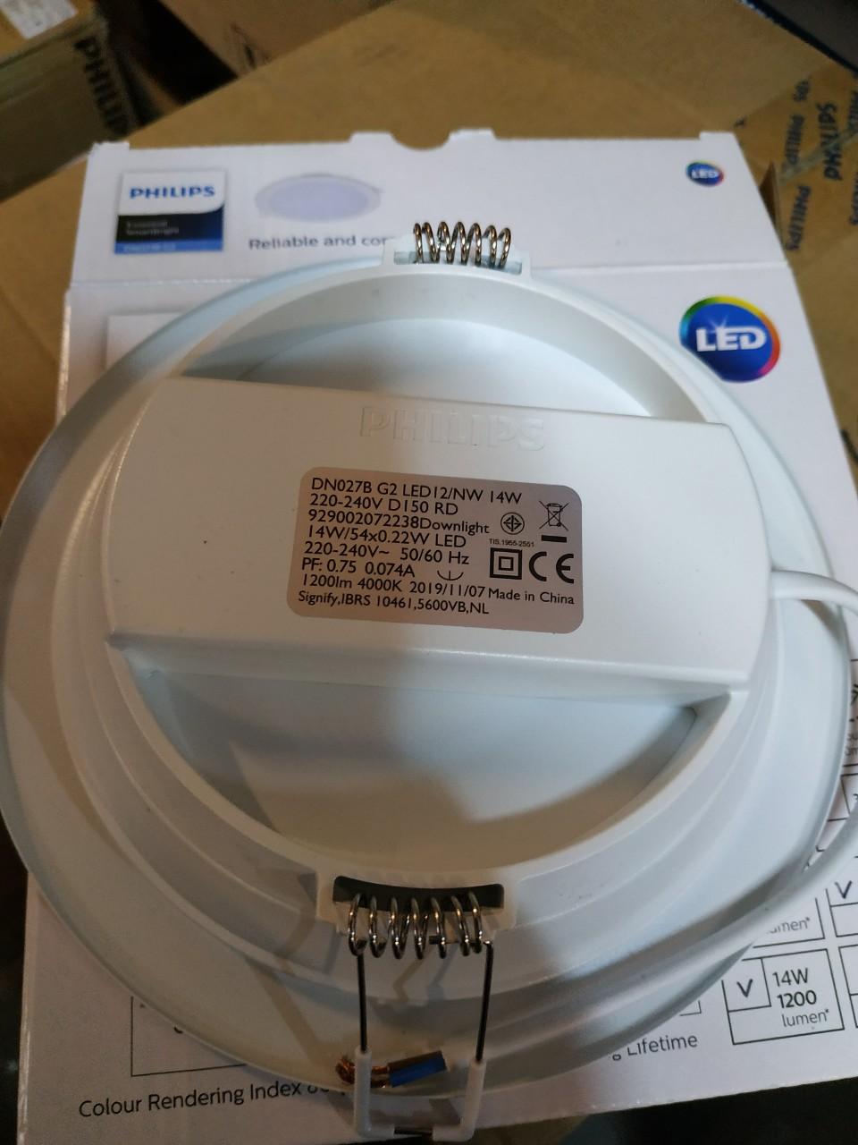Mặt sau của Đèn led âm trần tròn 14W DN027B G2 LED12 D150 RD Philips