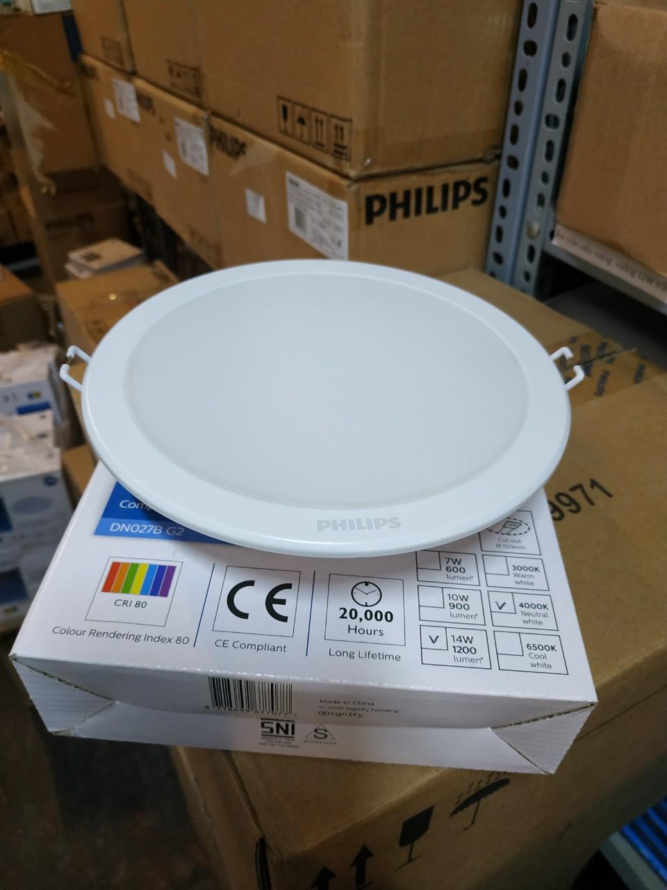 Mặt trước của Đèn led âm trần tròn 14W DN027B G2 LED12 D150 RD Philips