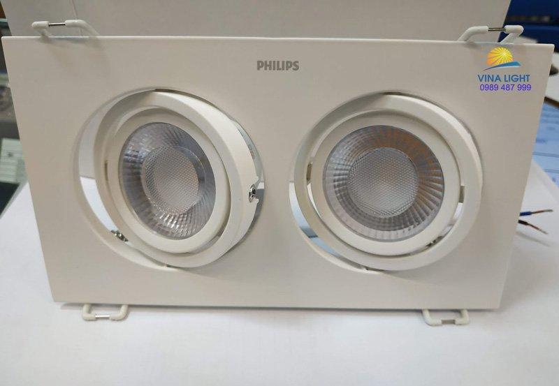 Mặt trước của Đèn led chiếu điểm vuông GD100 2x9w Philips