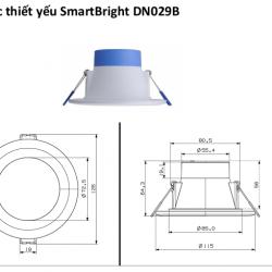 Kích thước Đèn âm trần led downlight dn029b